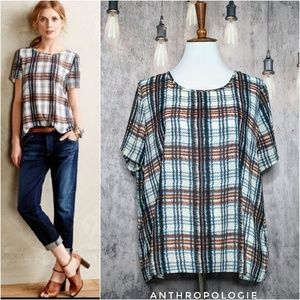 Anthropologie MAEVE Draped Plaid Top - Like New